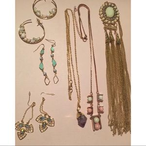 Anthropologie Gold Statement Mixed Lot Jewelry